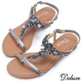 【Deluxe】全真皮不規則水鑽夾角楔型涼拖鞋(灰)
