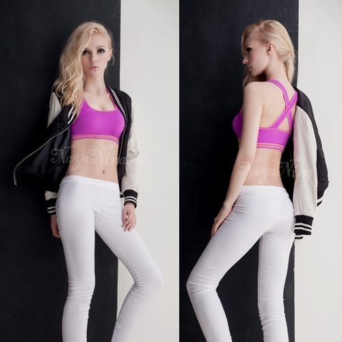 運動內衣-寬幅交叉肩帶-慢跑瑜珈有氧運動內衣 星光密碼P056紫