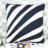 時尚黑色條紋印花沙發靠枕 抱枕 腰枕 靠背墊