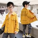 男童外套 男童外套韓版外套 秋季中大童百搭夾克外套 字母印花男童外套 男孩洋氣簡約男童外套