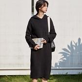 長袖洋裝-針織連帽簡約中長款連身裙2色73xm36[時尚巴黎]