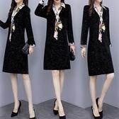 大碼洋裝 女裝寬鬆黑色春裝打底連身裙2020新款裙子秋冬季中長款