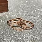 日韓時尚優雅18K玫瑰金白貝殼母貝鑲鉆戒指尾戒女鈦鋼不掉色飾品