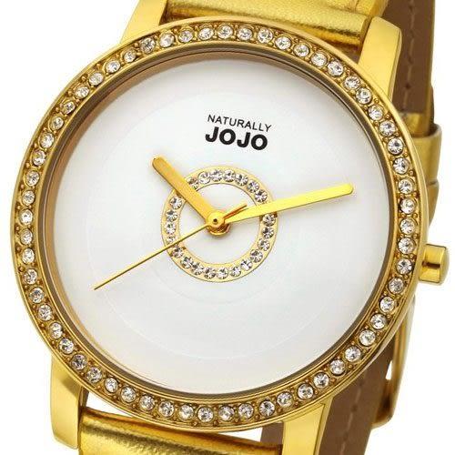 NATURALLY JOJO 奢華簡約晶鑽時尚腕錶-金/37mm