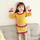 女童套裝裙 女童毛衣連身裙兩件套童裝套裝兒童紅針織裙子毛衣包臀裙 qf13627【黑色妹妹】