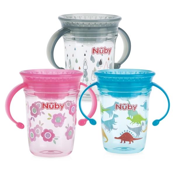 Nuby 晶透360度喝水杯 240ml (款式任選)