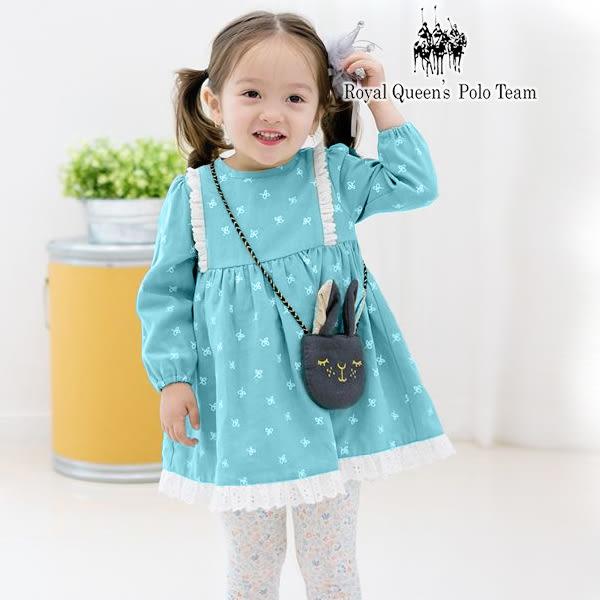 蝴蝶結印花水藍色長袖點點厚棉刷毛洋裝(附小兔包)  RQ POLO 小女童秋冬款  [K8662]