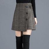 新款格子半身裙女秋冬高腰不規則A字包臀裙毛呢加厚冬裙短裙 朵拉朵