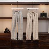 時尚休閒格子長褲L-4XL大碼長褲女秋高腰闊腿褲寬鬆顯瘦九分褲休閒褲R26-1148