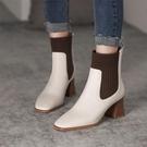 裸靴 2020秋季新款粗跟短靴拼色靴子女高跟馬丁靴裸靴毛線飛織彈力靴 霓裳細軟