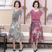 中年女40-50歲中老年女短袖時尚媽媽過膝連身裙子吾本良品