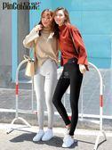 秋褲女 打底褲女薄款外穿顯瘦韓版灰色豎條螺紋內穿秋季小腳九分秋褲純棉 俏女孩
