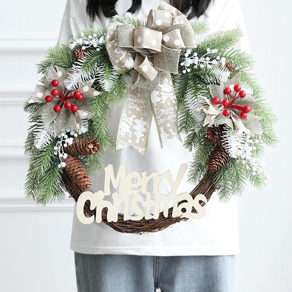 聖誕花環 聖誕節裝飾花環藤條加密套餐 節日布置櫥窗門藤花環聖誕裝飾品【快速出貨】