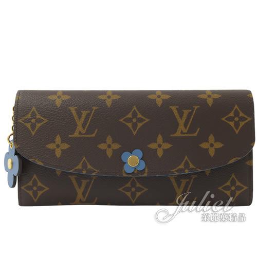 Louis Vuitton LV M63895 EMILIE 經典花紋花飾扣式零錢長夾.牛仔藍  全新 現貨【茱麗葉精品】