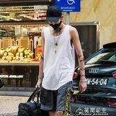 無袖短袖-白色背心男打底衫潮牌街頭嘻哈寬鬆沙灘運動汗衫夏季無袖t恤坎肩 花間公主