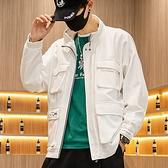 休閒夾克-立領多口袋寬鬆純色舒適男外套3色73zm31[巴黎精品]