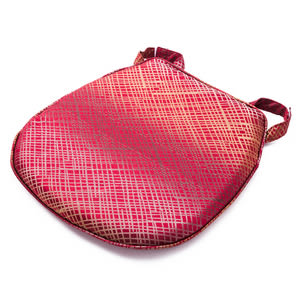 金格緹花馬蹄形餐椅墊 紅