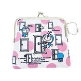 粉紅色款【日本進口正版】哆啦a夢 DORAEMON 防震棉 中型 珠扣包 零錢包 收納包 小叮噹 - 419455
