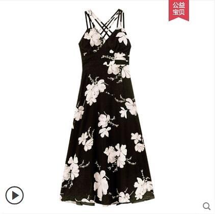 碎花裙 2020夏季新款氣質性感露揹收腰碎花雪紡吊帶洋裝女夏天顯瘦長裙