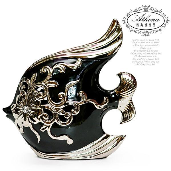【雅典娜家飾】黑色熱帶魚陶瓷鍍銀擺飾-DB93