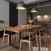 餐桌 北歐風復古鐵藝實木餐桌家用咖啡店長方形飯店咖啡廳餐桌椅組合 童趣屋 JD