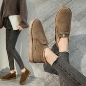雪地靴 冬季雪地靴女2019新款時尚百搭加絨保暖短靴懶人面包鞋厚底棉鞋子 小宅女