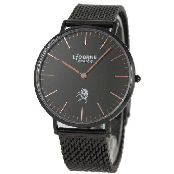 【萬年鐘錶】 LICORNE  entree  簡約經典腕錶  米蘭編織錶帶-大  黑色  40mm   LT056MBBI-R