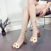 羅馬涼鞋2018夏季羅馬平底鞋女交叉綁帶鞋粗跟繫帶花朵 貝芙莉女鞋