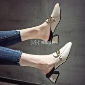 高跟鞋  半拖鞋包頭拖鞋女外穿時尚復古穆勒高跟粗跟鞋子潮  瑪奇哈朵