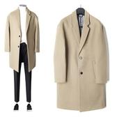 風衣外套-純色簡約百搭毛呢中長版翻領男大衣2色73ip49[時尚巴黎]