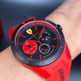 星晴錶業-FERRARI法拉利男女通用錶,編號FE00007,44mm黑, 紅錶殼,紅錶帶款
