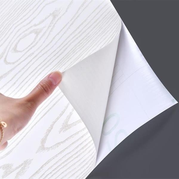 加厚白木紋貼紙家具翻新門貼紙衣柜桌面櫥柜水可擦洗自粘墻紙