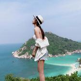 沙灘帽女遮陽帽夏海邊海灘帽太陽帽草帽度假帽子大檐帽防曬帽禮帽【無趣工社】