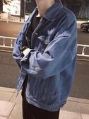 @港仔文藝男 秋季原宿寬鬆男生bf風潮流牛仔上衣外套韓版情侶夾克 依夏嚴選