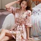 睡衣女性感睡裙女夏季薄款冰絲吊帶睡袍兩件套大碼寬鬆春秋家居服 夏季新品