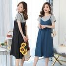 漂亮小媽咪 韓系 拼接 假二件 吊帶裙 洋裝 【D6225】假兩件 孕婦裝 超顯瘦 連身裙