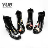 雨鞋-雨鞋女中筒馬丁靴女士休閑短筒防水鞋都市雨鞋防滑韓版時尚雨鞋-奇幻樂園