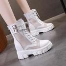 短靴2021夏季新款百搭女鞋網靴厚底內增高網布薄款鏤空馬丁靴帥氣短靴