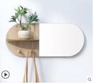 春節特價 日式牆壁鏡創意牆上置物架壁掛牆架客廳裝飾架玄關收納掛牆鑰匙架