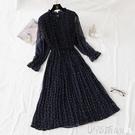 雪紡洋裝波點連身裙女秋冬裝2019年新款寬鬆法式復古長袖碎花雪紡打底裙子 伊蒂斯