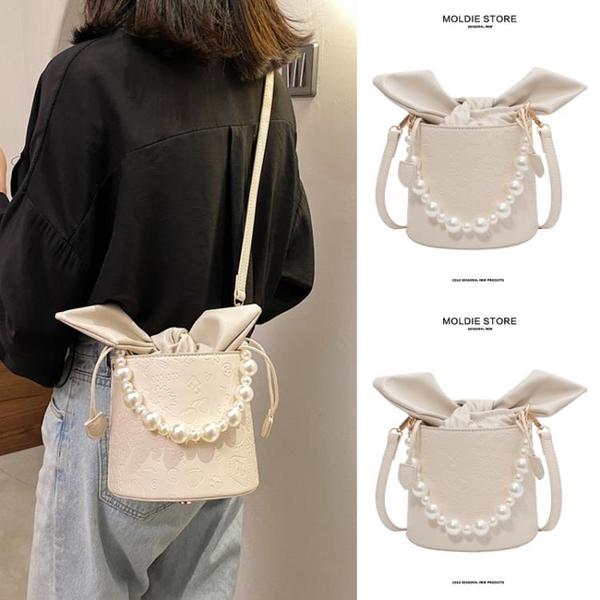 小眾設計夏天百搭斜挎珍珠鏈條手提小包包女2021新款潮夏季水桶包 小艾新品