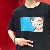 FINDSENSE G6 韓國時尚 復古惡搞卡通圖案T恤男女同款情侶圓領棉質柔軟短袖T恤上衣