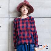 betty's貝蒂思 連帽配色格紋上衣(紅色)