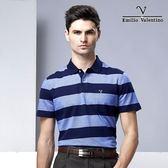 Emilio Valentino 海洋風彈性棉休閒POLO衫 - 藍條紋