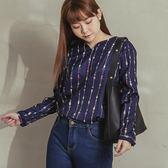 Poly Lulu 滿版色彩餐具印花長袖上衣-深藍【91080454】