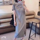 短袖連衣裙女新款休閒遮肚大碼