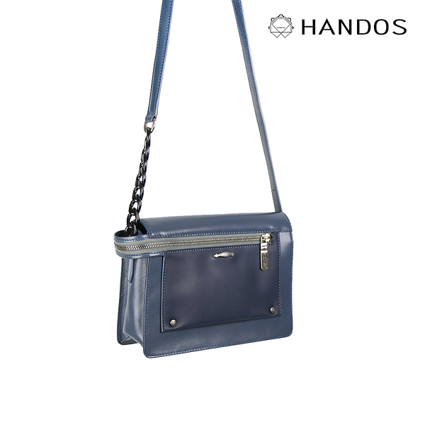 HANDOS Pocket 串鍊真皮肩背包 - 海洋藍↘6折