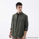 【GIORDANO】男裝工裝風大口袋襯衫 - 54 軍綠