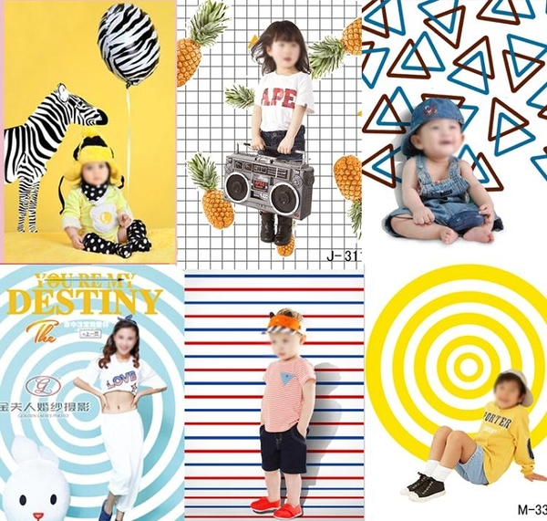 兒童背景布 兒童攝影背景 影樓主題拍攝照相館拍照尼克韓版百天寶寶迷你壁貼壁紙