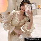 2021春夏小個子泡泡袖法式復古暮雲紗白月光初戀洋裝女超仙【全館免運】
